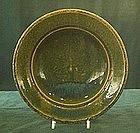 Japanese Oribe style green glaze plate