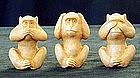 Japanese Ivory 3 Monkey Okimono
