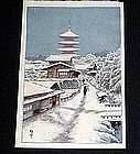 Japanese woodblock print Hasui style