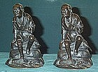 Nice Japanese Bronze Bookend fisherman Siged Meiji