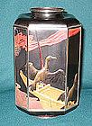 Japanese Lacquer silver rim vase Meiji era