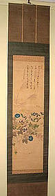 Nice Japanese scroll with sparrow and blue mornig glory