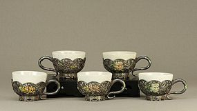 Japanese Silver Filigree w White Procelain Teacups