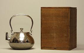 Japanese Silver Teapot w Chrysanthemum Finial c19th