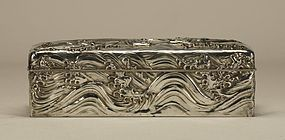 Japanese Silver Wooden Box w Waves & Fishes