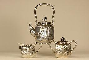 Japanese Silver Tea Set Signed MUSASHIYA YOKOHAMA