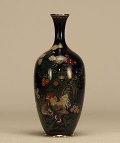 Japanese Cloisonne Enamel Vase w Rooster & Hen c19th