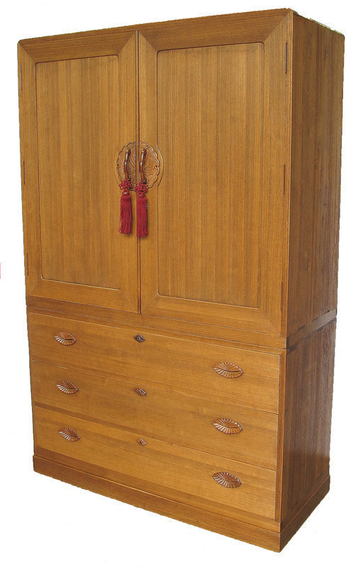 Vintage Japanese Kamo Kimono Tansu 2pc Kiri Wood