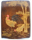 Vintage Japanese Lacquered Box Fumi Bako Rooster