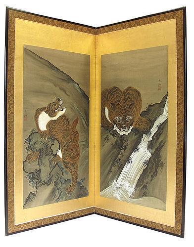 Vintage Japanese Screen Tiger Painting