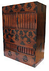Vintage Japanese Lacquer Choba Tansu Merchant Chest 2pc