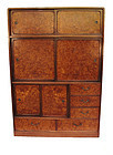 Vintage Japanese Cha Tansu Tea Chest Burl Wood
