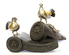 Vintage Japanese Bronze Dove Hato Okimono