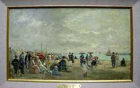 Beach with People at Trouville: Francois Gall