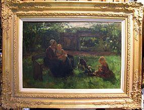 Mother, Children, Goat in Garden: Jacobus S.H. Kever