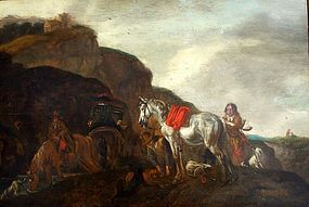 Horsemen near Stream: Philips Wouwerman