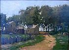 Impressionist Farm House on Water Front: Paul Cornoyer