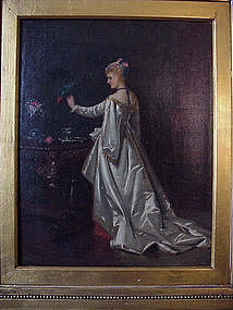 Woman with Parrot by E. C. Barnes