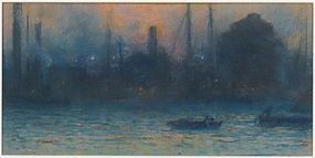 NYC Hudson River Waterfront at Dusk: Eliot Candee Clark