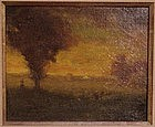 Sunset Landscape With Figures: George Inness