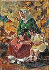 Mother & Daughter Amidst Autumn Leaves: John  Costigan