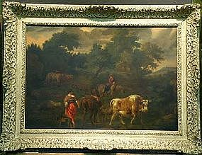 Drovers with Cattle: Circle of N. Berchem