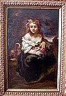 Lady with Flowers & Dog: Narcissus Diaz de la Pena