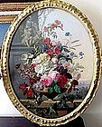 Floral Still Life with Birds, Cherubs: C. Gontier