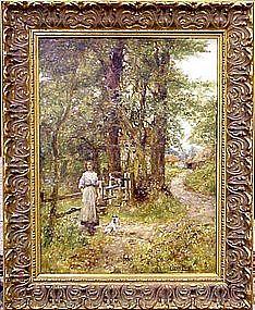 Landscape with Woman & Dog: Henry John Yeend King