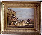 Chickens & Rooster in Landscape: Albertus Verhoesen