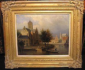 Dutch Village on River: Jacobus Ludvicus Cornet