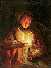 Woman Reading by Candlelight:: Godfried Schalcken