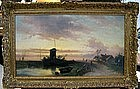 Landscape with Windmill & Peasants: Charles Leickert