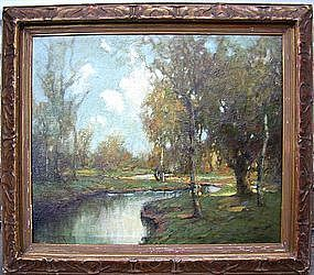 Autumn Landscape with River: George Thompson Pritchard