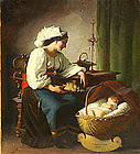 Portrait of Mother & Child in Cradle:Giuseppe Mazzolini