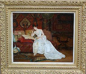 """""""Lady in White Dress on Sofa"""": George Croegaert"""