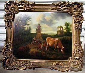 Landscape with Figures, Cattle, Arch: Nicolas Berchem