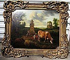 Landscape with Figures, Cattle, Arch: Nicolas Berchem