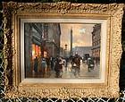 Paris Street Scene at Dusk: Edouard Leon Cortes