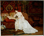 Lady in White Dress on Sofa: Georges Croegaert