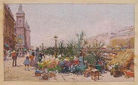 Paris Street Scene with Flowers: Eugene Galien-La Loue