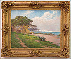 Impressionist Landscape by the Sea: Ernest G Marche