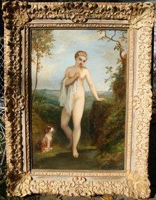 Nude with  Dog in Landscape: Narcisse Diaz de la Pena