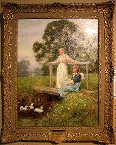 Ladies on Bridge with Ducks: Henry John Yeend King