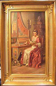 Woman Playing Harpsicord: Fortunino Matania