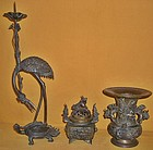 Antique Japanese Buddhist Temple Bronze  Altar Set