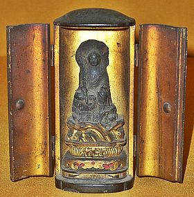 Antique Japanese Fudo-Myo Traveling Altar, Edo P.