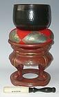 Antique Japanese Zen Temple Bronze Gong w/Stand