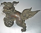Antique Japanese Bronze Shishi Fu-dog , Meiji Period