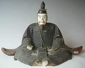 Antique Japanese Wood Carving 'Tenjin' C. 1915